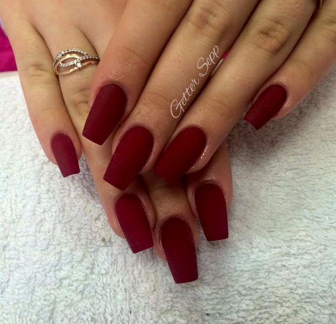 The Basic Facts Of Dark Red Coffin Nails Matte Restbytes Com Maroon Nails Matte Nails Design Maroon Acrylic Nails