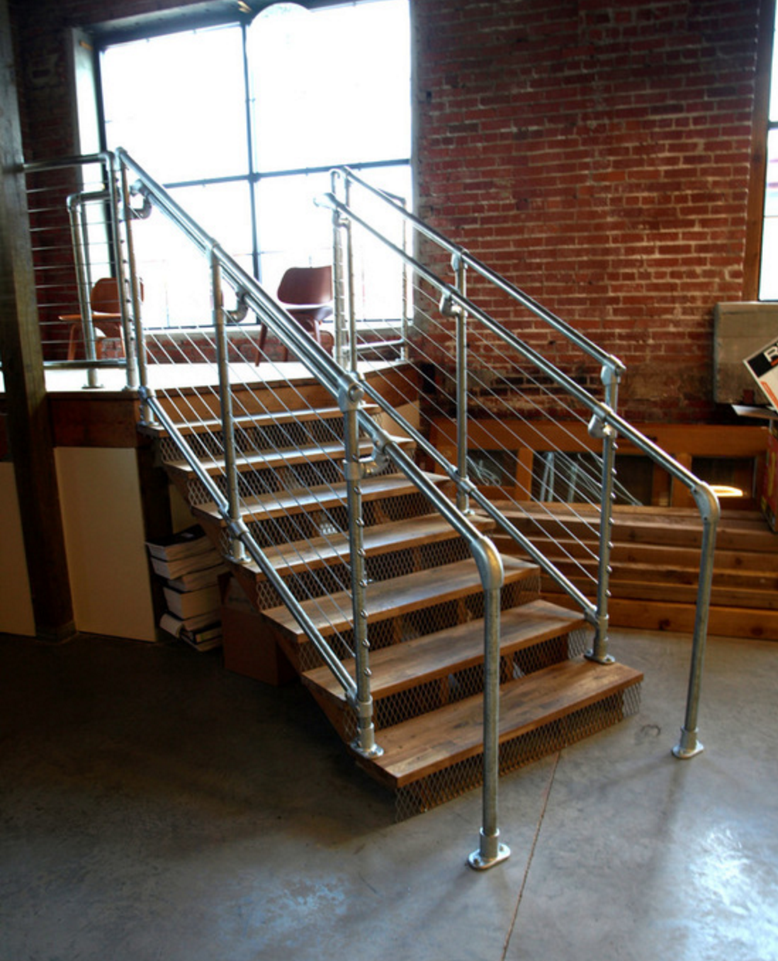 Best Industrial Pipe Stair Rail With Steel Cable Office Style 400 x 300