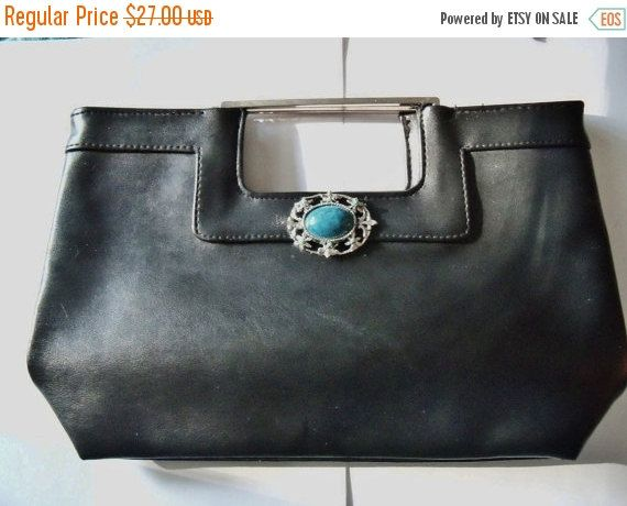 Black Clutch Dorothy Perkins Restyled Assemblage Purse Turquioise Silver Tone Pendant Everyday Gift for Her MHYO Designer Purse No.49