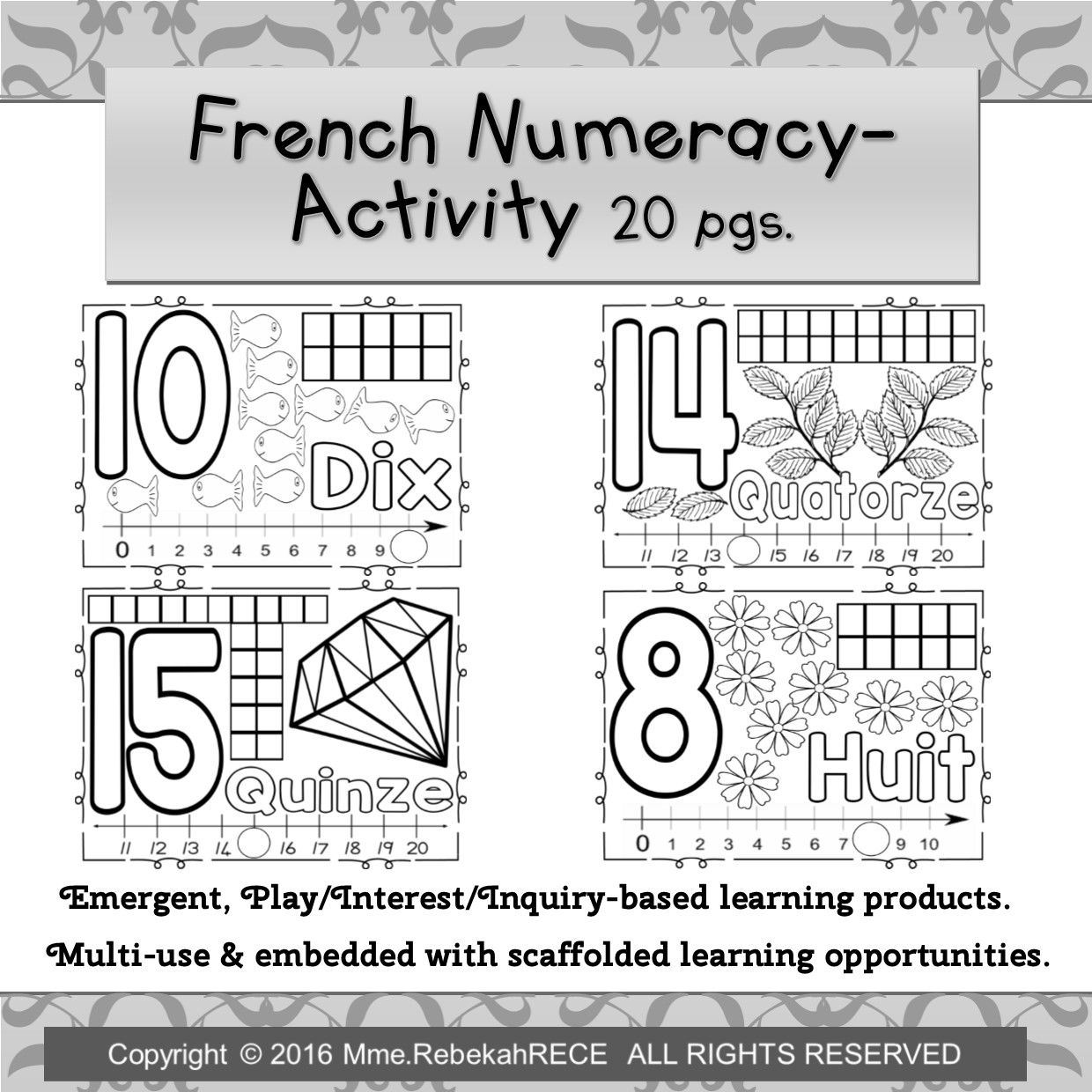 french numeracy activity 20 pgs for emergent curriculum invitations french immersion. Black Bedroom Furniture Sets. Home Design Ideas
