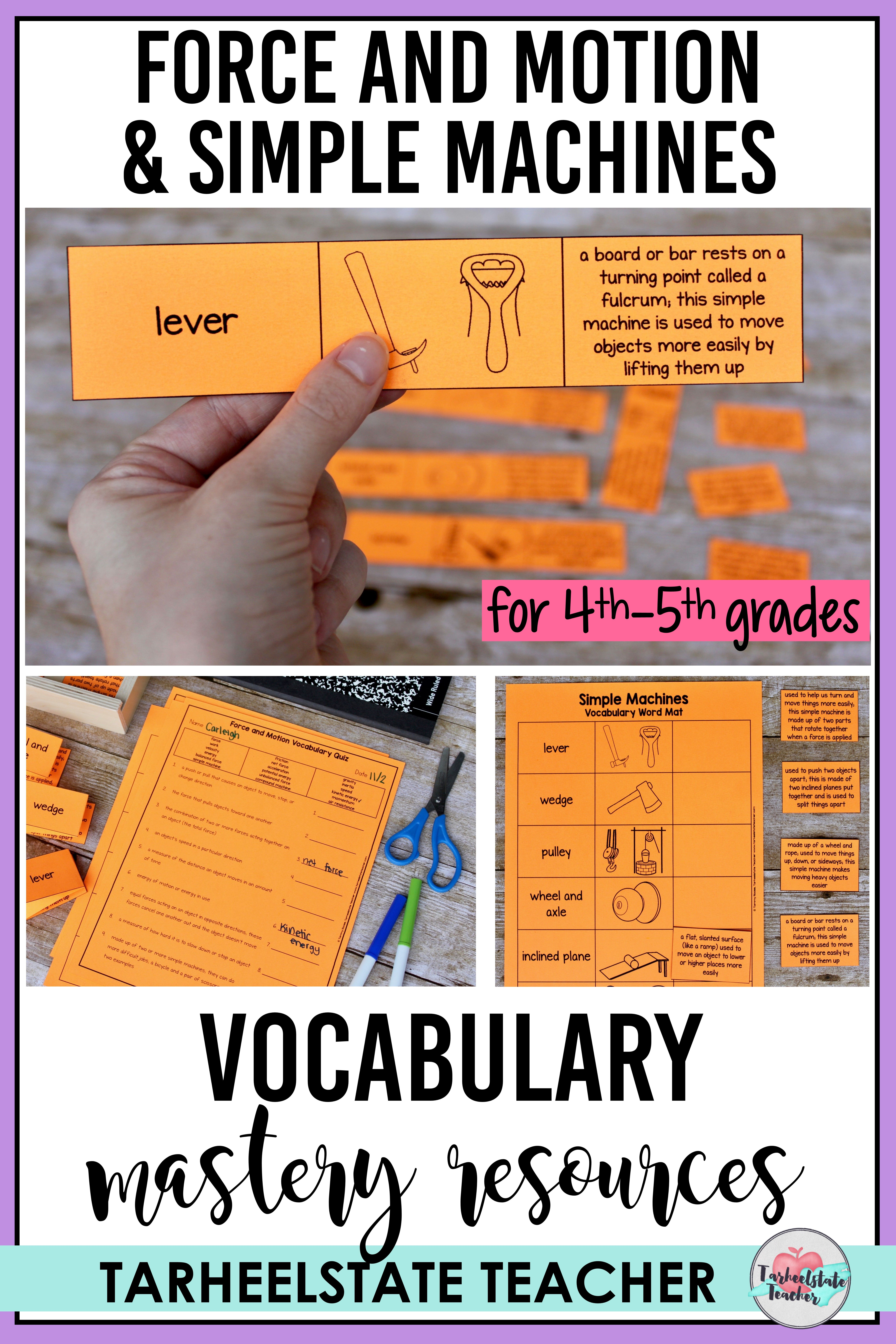 Force And Motion Simple Machines Vocabulary Mats Study
