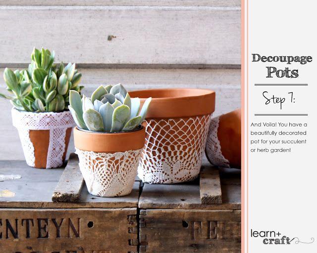 Our aesthetic: Our Decoupage Pots DIY | Decoupage, Pot, Diy