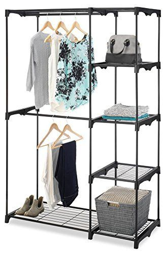 Freestanding Portable Closet Organizer U2013 Heavy Duty Black Steel Frame    Double Rod Wardrobe Cloths Storage With 5 Shelves