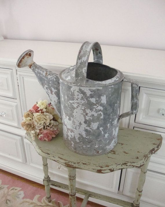 VINTAGE WATERING CAN White Chippy Paint Rustic by IWANTVINTAGE, $32.00