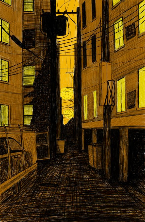 """Alley Study 27 with Four Plus Ones 