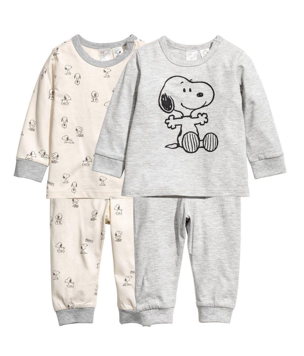 Pack De 2 Pijamas De Punto Gris Snoopy Ninos H M Mx Con