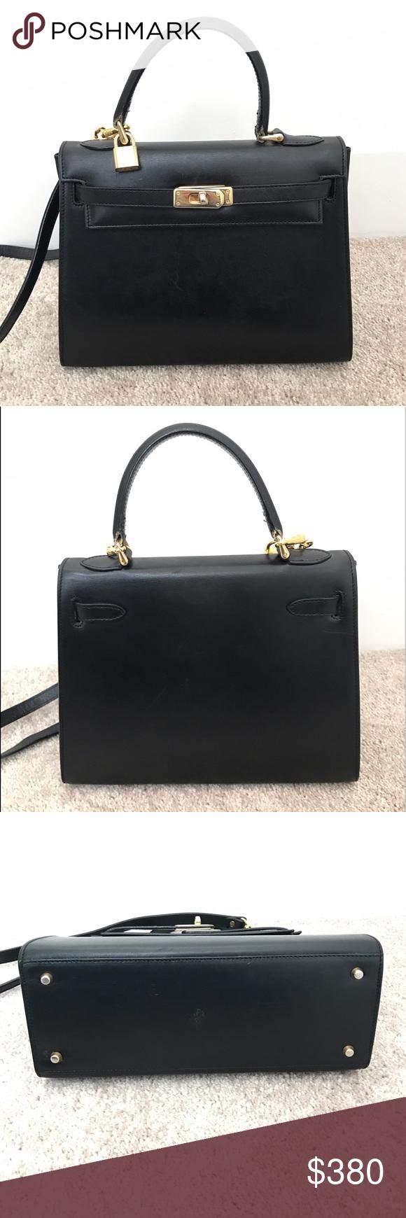 Vintage Lederer De Paris Kelly Bag Made In Italy Stunning Black Leather Handbag From