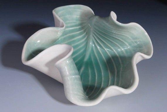 Decorative Ceramic Plate in Green  Hosta Leaf by WhiteEarthStudio.etsy.com