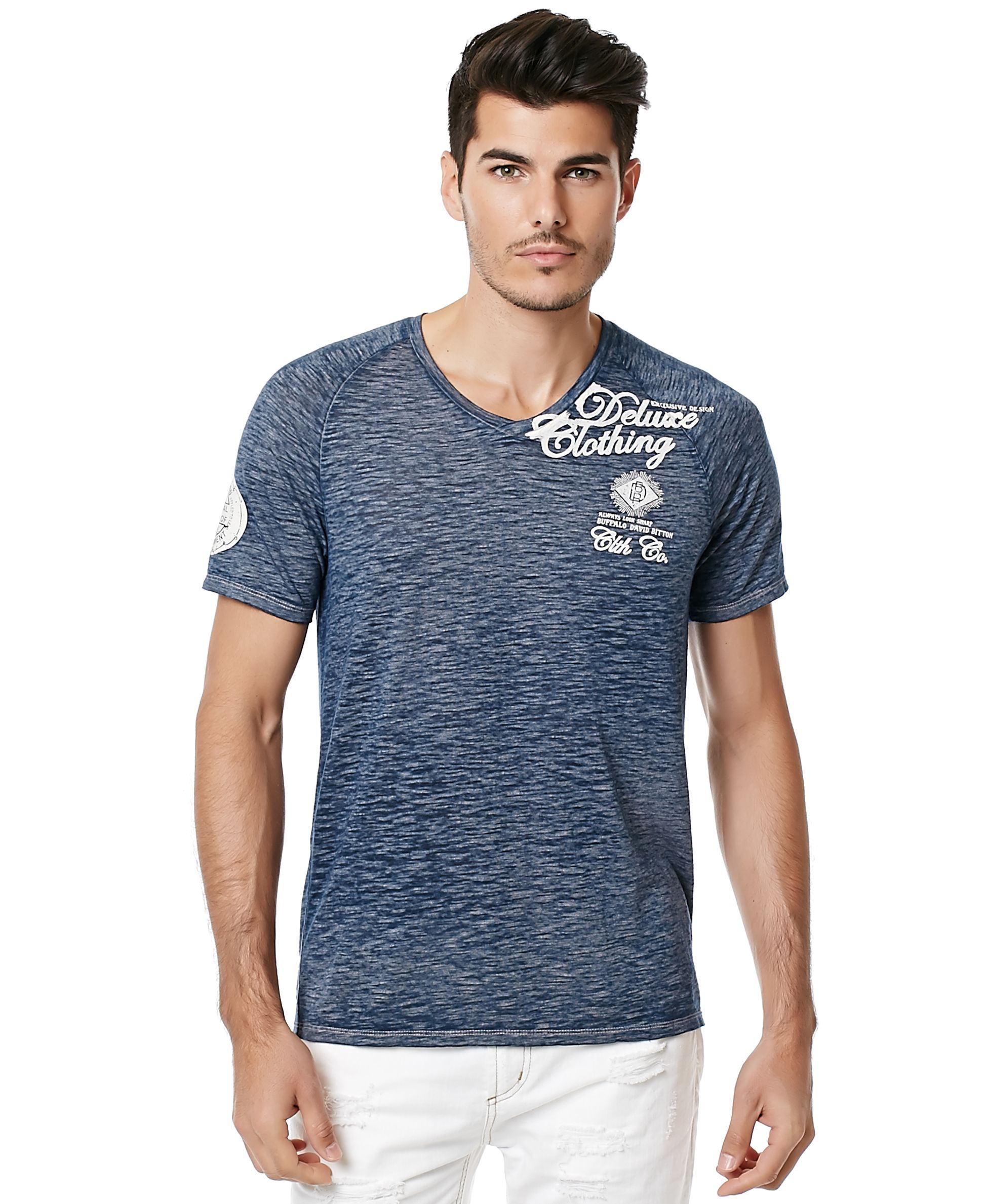ae04c5839626 Buffalo David Bitton Men's Nannop Burnout Graphic-Print V-Neck T-Shirt