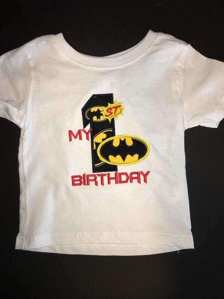 Batman my 1st birthday embroidered tshirt keepsake