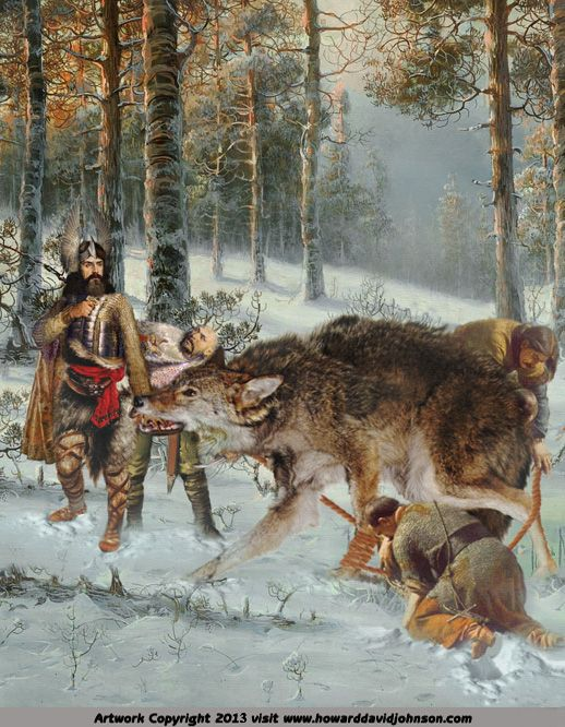 aa6bc4be286f0 Fenrisúlfr (Fenris wolf) The Binding of Fenrir, or How Tyr lost his hand.  Tyr was the Viking god of war, Justice and heroic glory and portrayed with  only ...