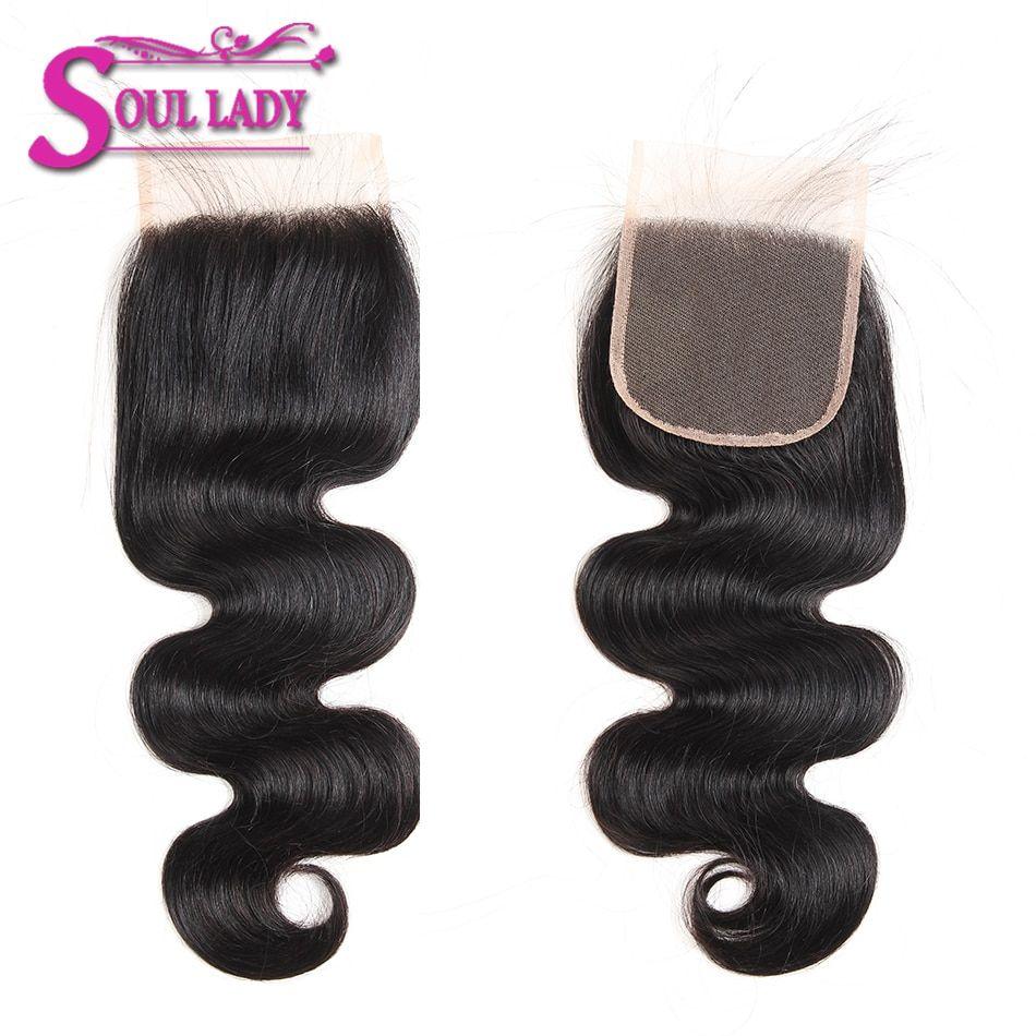 Soul Lady Brazilian Body Wave Human Hair 3 Bundles With Lace Closure Free Part 4 Pcs Lot Non Remy Hair Weav Peruvian Hair Bundles Body Wave Brazilian Body Wave