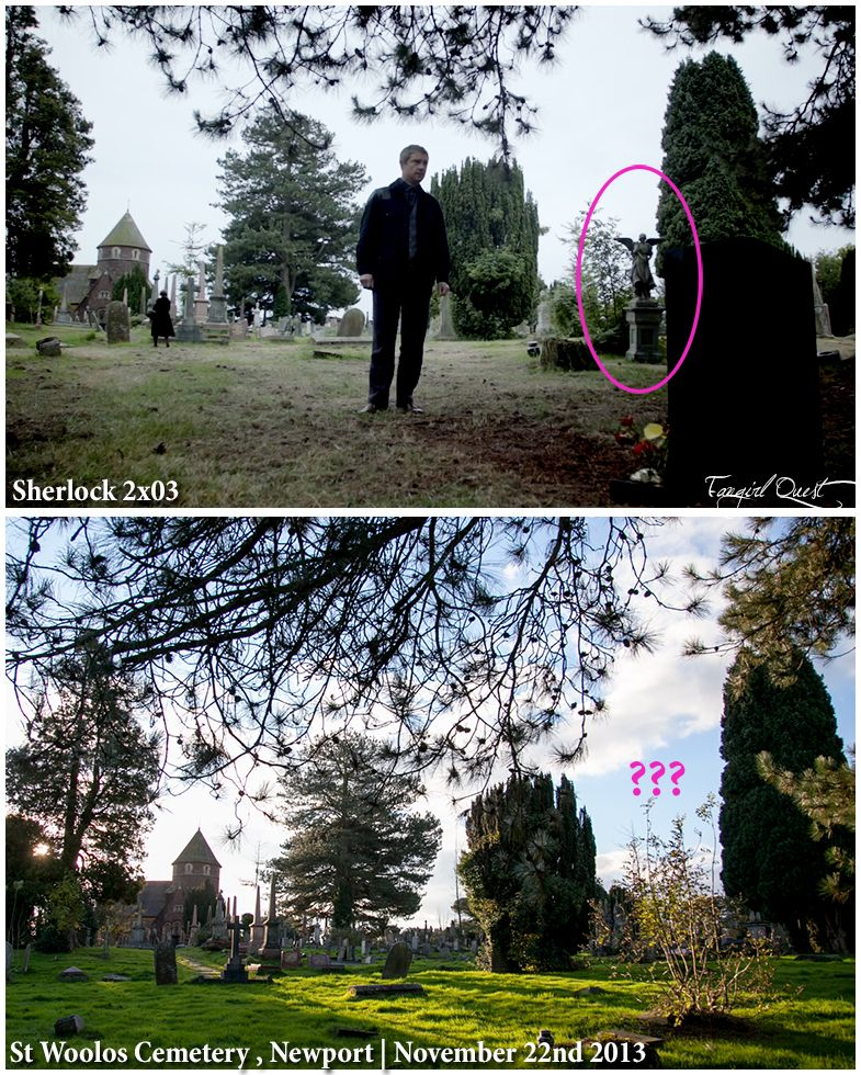 So we visited Sherlock's grave and noticed something missing..  We made our exits in an unblinking fashion.