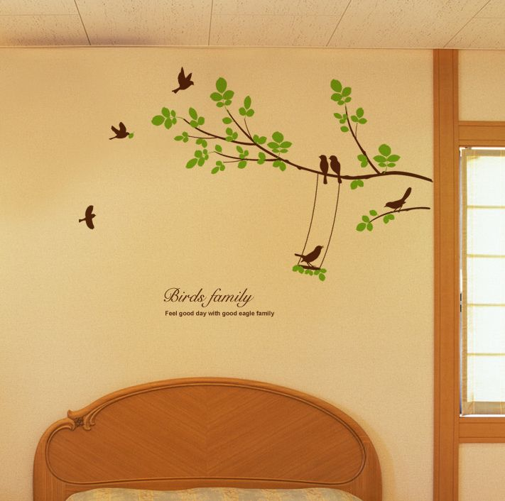 Large Tree Seven Birds Wall Decals Removable Decorative Vinyl Home ...