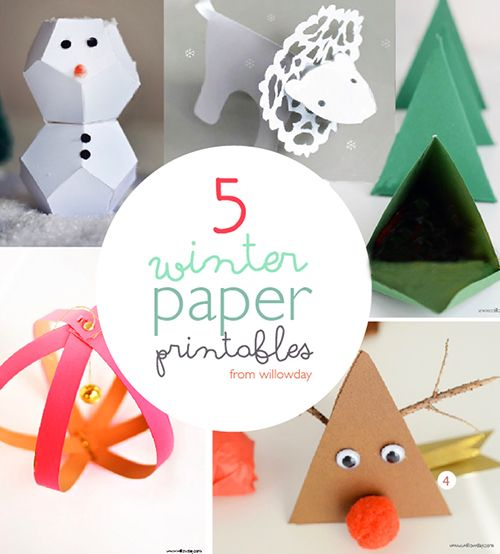 5 Winter Paper Projects / simple making with templates | willowday
