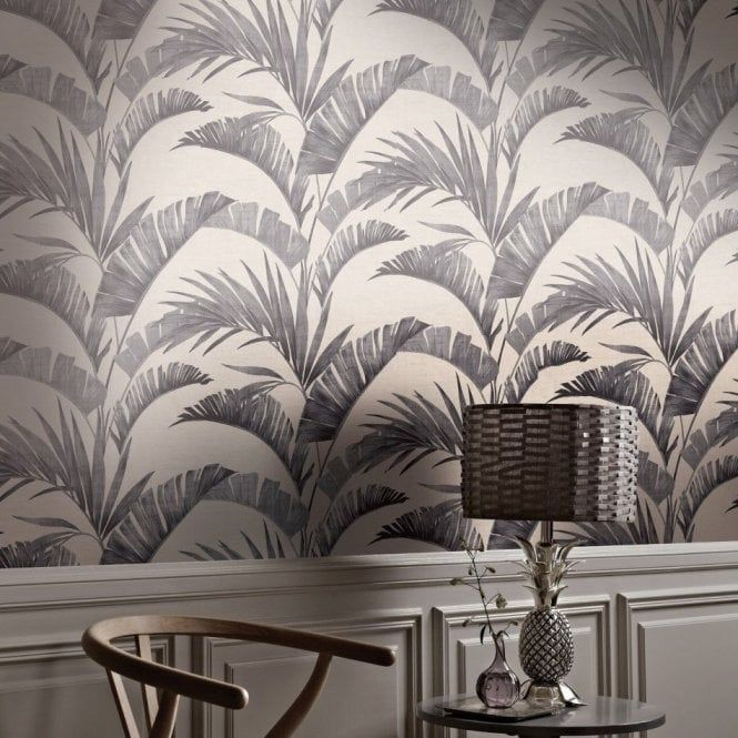 Arthouse Tropical Banana Leaf Palm Tree Charcoal Wallpaper