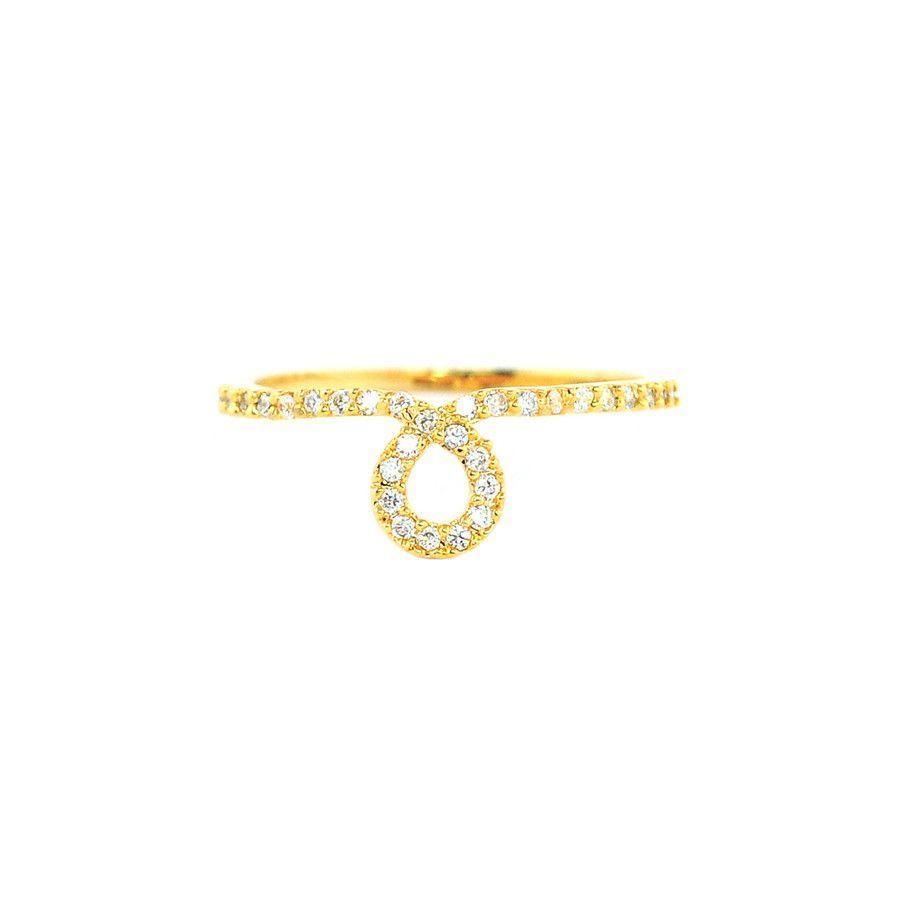 Loop Crystal Gold Ring