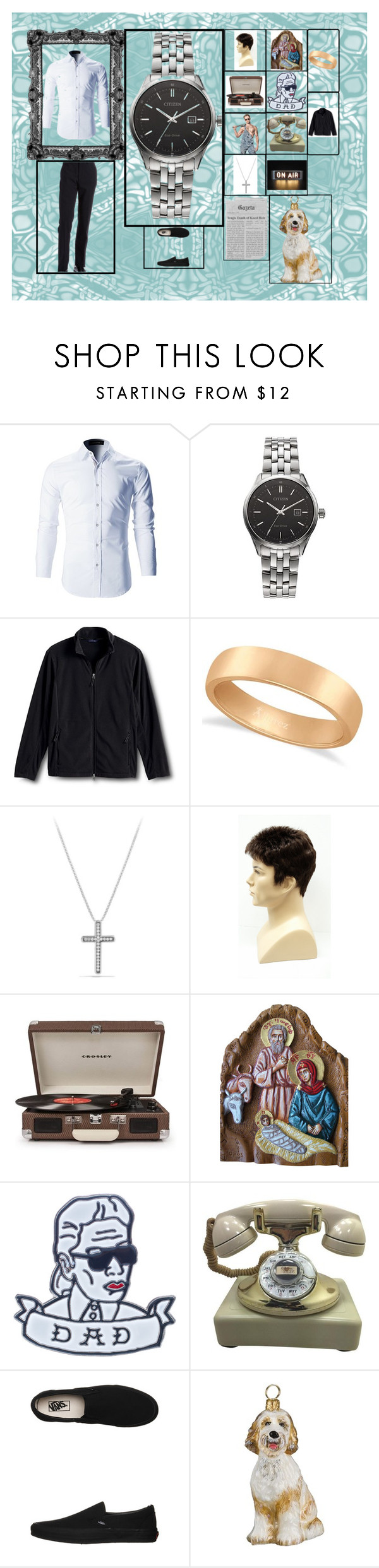 """my other grandfather"" by melissa-van-delft on Polyvore featuring Citizen, Lands' End, Allurez, David Yurman, Crosley Radio & Furniture, Petals and Peacocks, Vans, Joy To the World, MICHAEL Michael Kors en men's fashion"