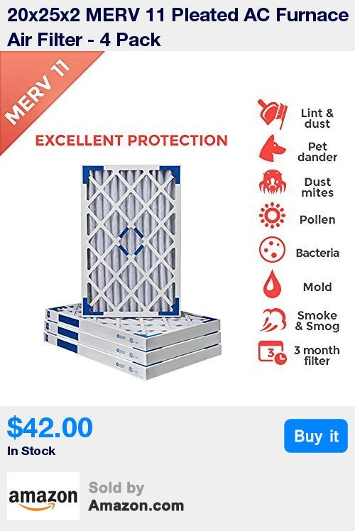 Actual Size 19 1 2 X 24 1 2 X 1 3 4 20x25x2 Ac Furnace Air Filter Merv 11 4 Pack Effectively Reduces Pollen Dust Pet Dander M Dust Mites Pet Dander Types Of Mold