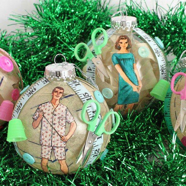 Tutorial: Vintage sewing pattern Christmas ornaments (Craft Gossip ...