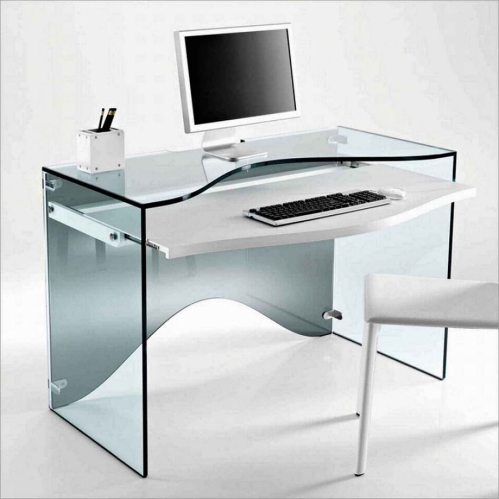 Desk amazing computer desks for small spaces tempered glass construction white pull out keyboard tray contemporary style fascinating computer desks for