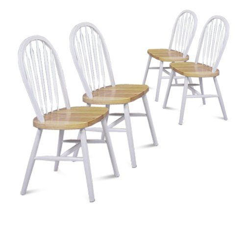 4 Natural And White Finish Arrow Back Dining Chairs By The