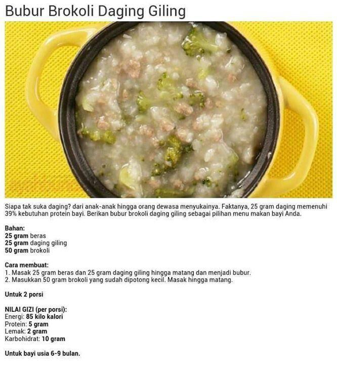Bubur Brokoli Daging Giling Makanan Bayi Makanan Sehat Balita Resep Makanan Bayi