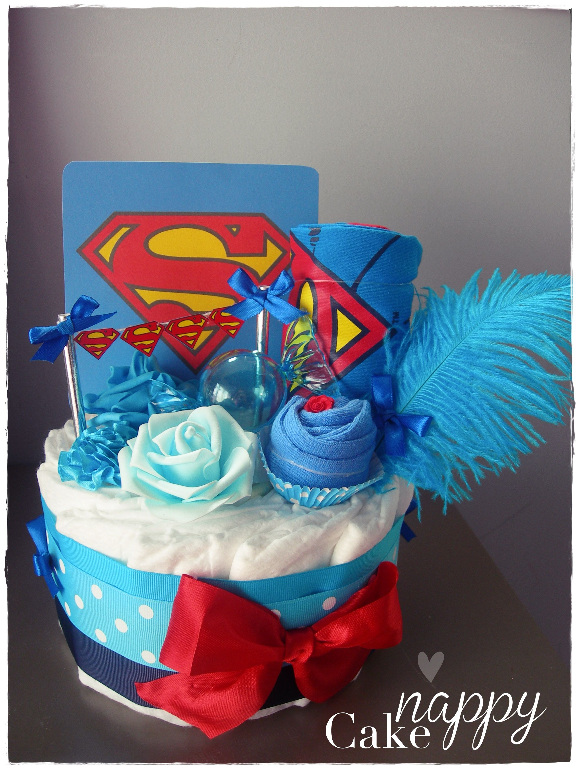 Gateau De Couches Superman Bleu Nappy Cake Cr Ations #Diapercake