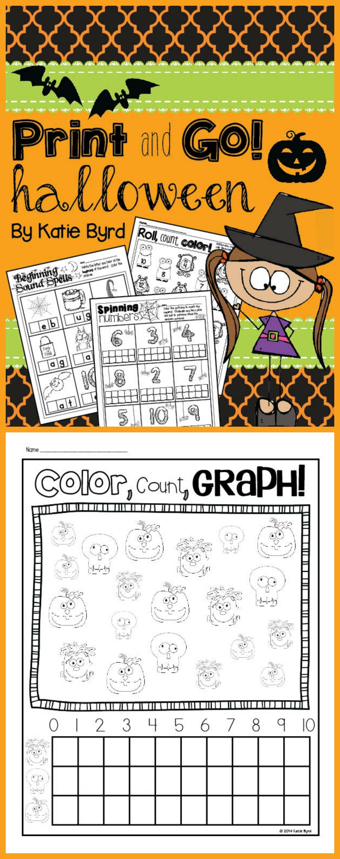Print And Go Halloween Math And Literacy No Prep With