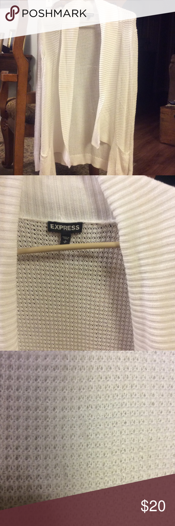White Express Cardigan W Pockets SM White cardigan from Express. I have several of these in various colors. They are so versatile! This one has a couple small picks on the back. View in pic 3. Not noticeable while wearing 😉 Express Sweaters Cardigans