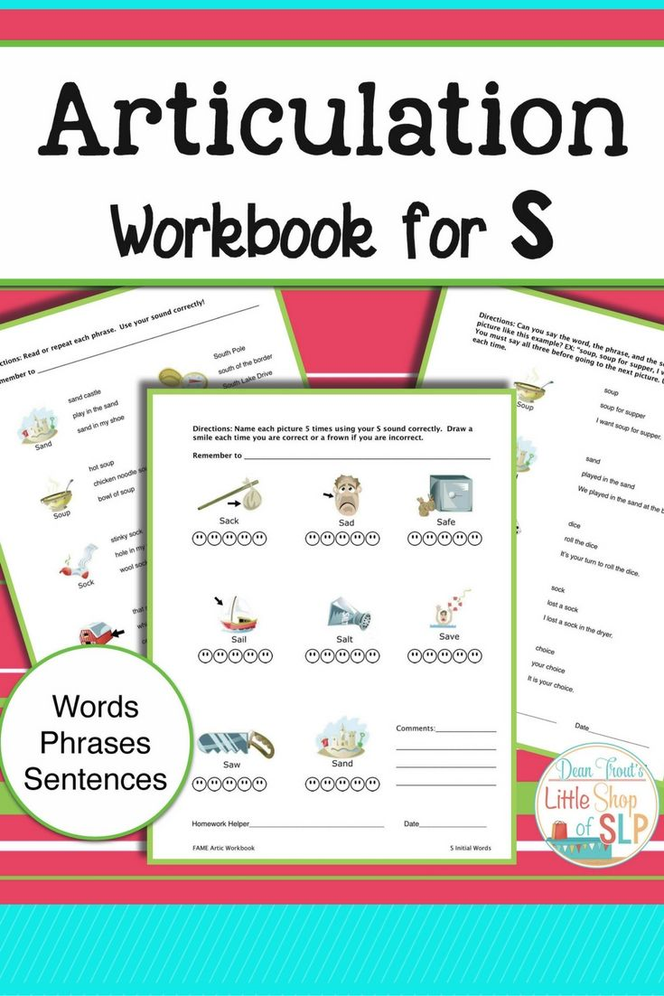 Articulation Workbook for the S Sound Just Print | Sentences ...
