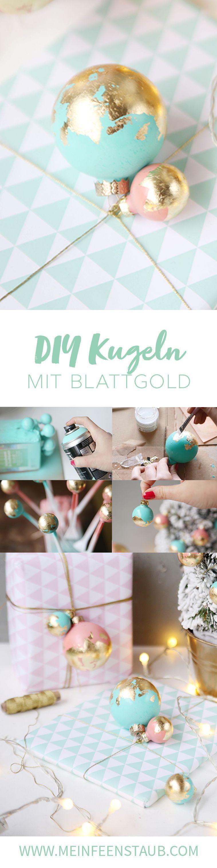 Kreative DIY-Idee für Weihnachten: Weihnachtskugeln mit Blattgold verschönern - bunte DIY-Idee für selbstgemachte Weihnachtsdeko | Geschenke schön verpacken für Weihnachten | Do it Yourself Einpacken