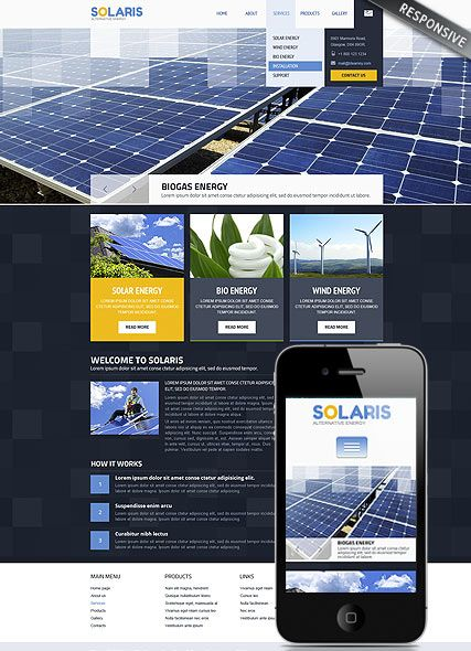 Solar Energy Website Template Alternative Power Solar Energy - Website templates wordpress