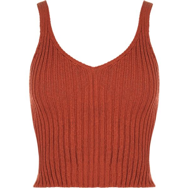 Holo Sleeveless Rib Knit Crop Top ($19) ❤ liked on Polyvore featuring tops,
