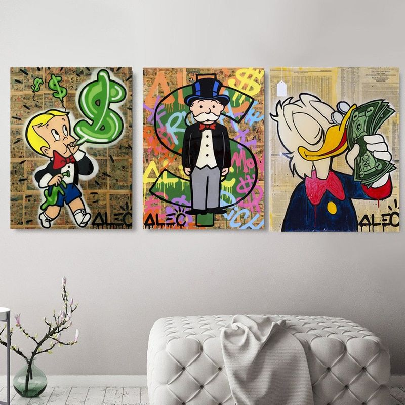 Alec Monopolyingly Richie Scrooge Dollars Canvas Painting Posters Graffiti Prints Wall Street Art Pictures For Living Room Decor In 2020 Wall Street Art Living Room Art Prints Wall Art Decor Living Room