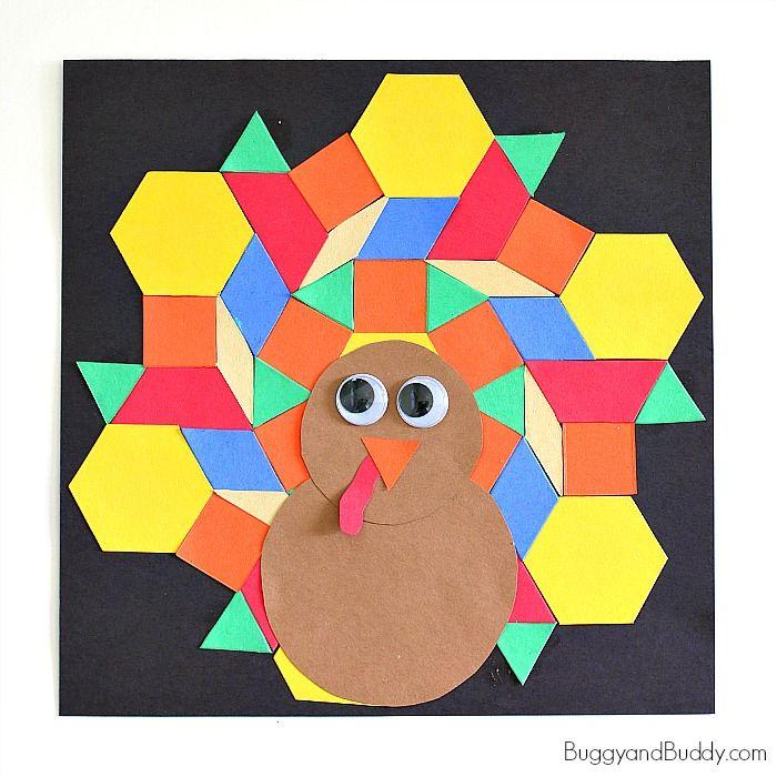 pattern block turkey craft for kids turkey craft pattern blocks