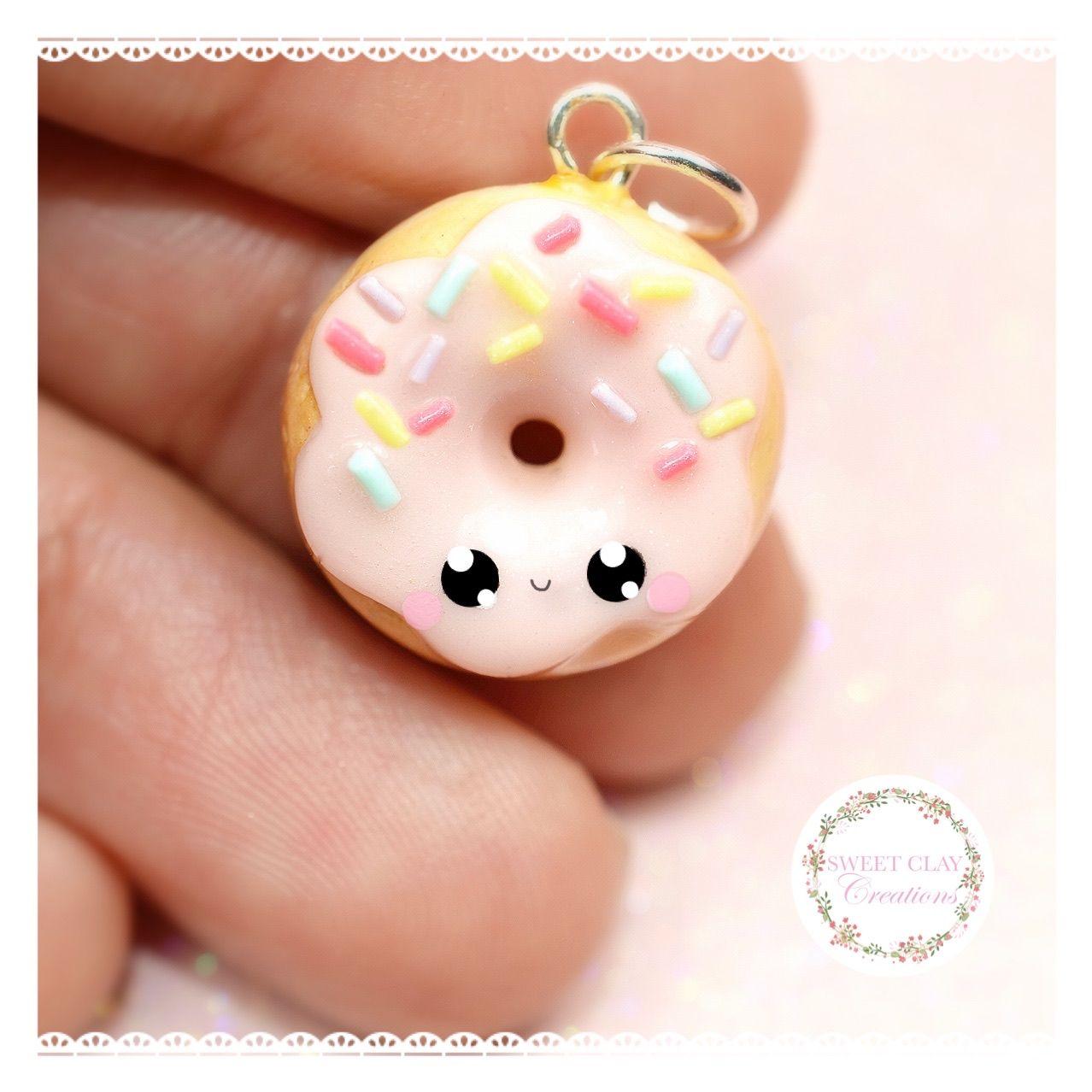 Handmade adorable donut charm earrings