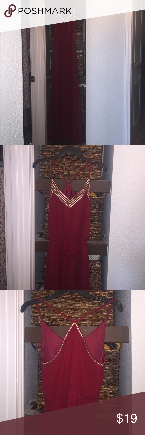 Soieblu burgundy maxi burgundy maxi with gold threading on top of