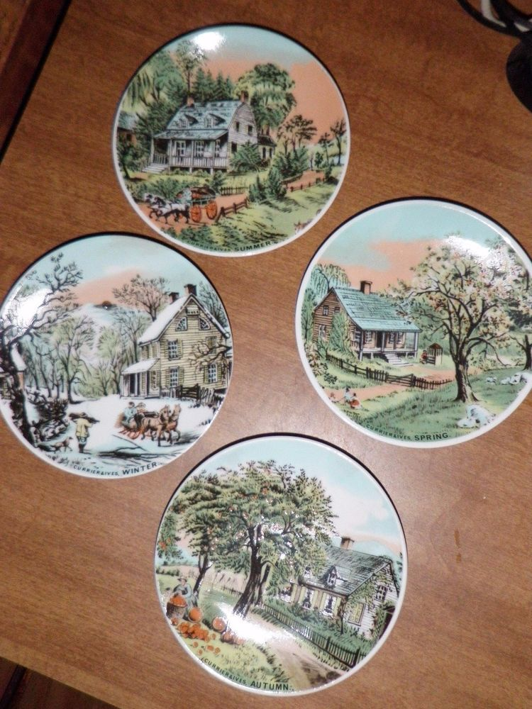 Set Of 4 Currier Ives Seasonal Plates Wall Decor Spring Summer Autumn Winter
