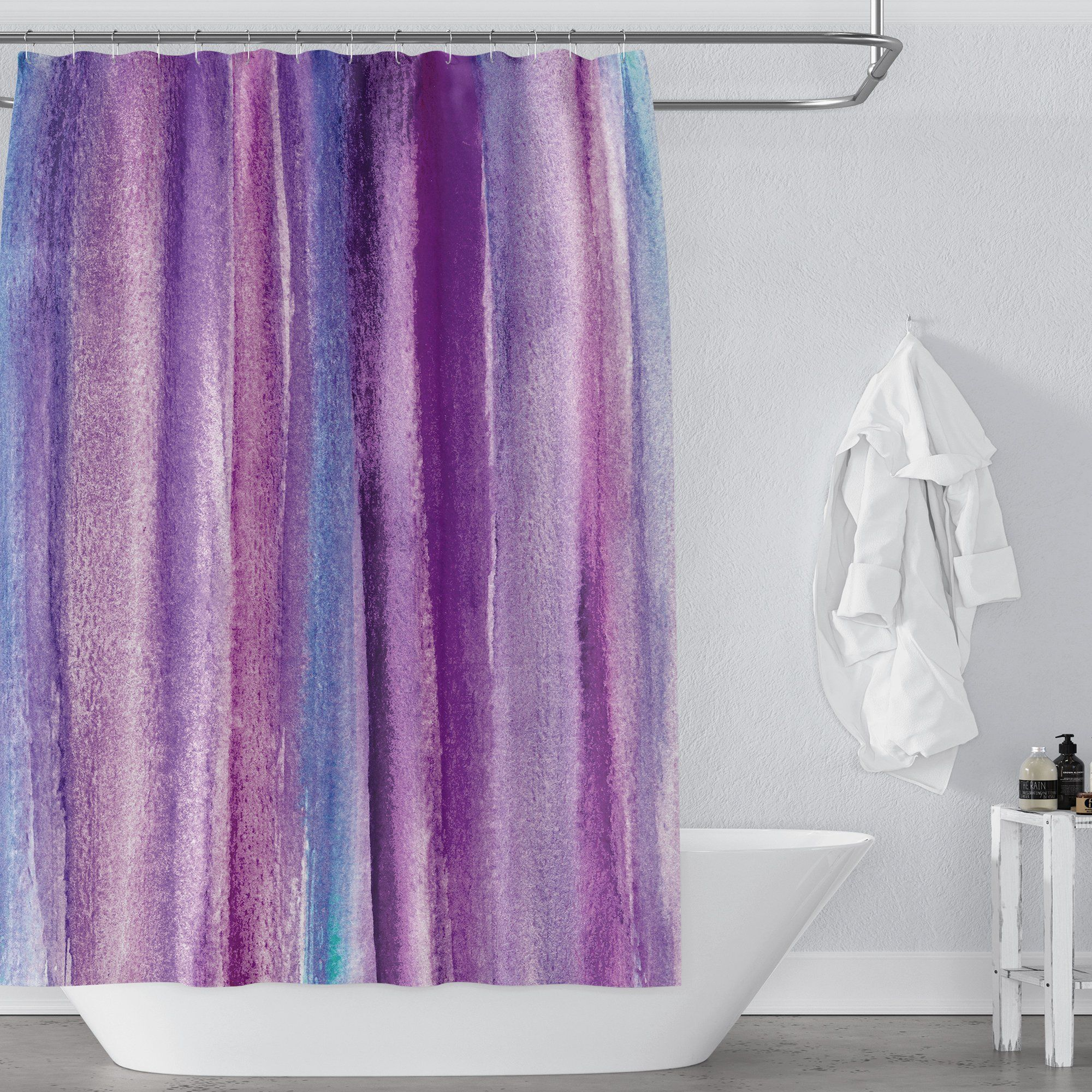 Purple Watercolor Stripes Shower Curtain Purple Shower Curtain