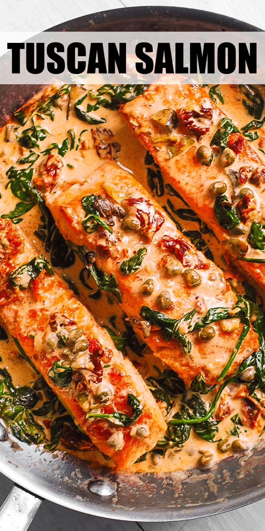 Creamy Tuscan Salmon with Spinach, Artichokes, Sun