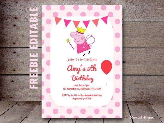 Free princess peppa pig printable peppa pig invitations princess free peppa pig invitation editable princess peppa stopboris Image collections