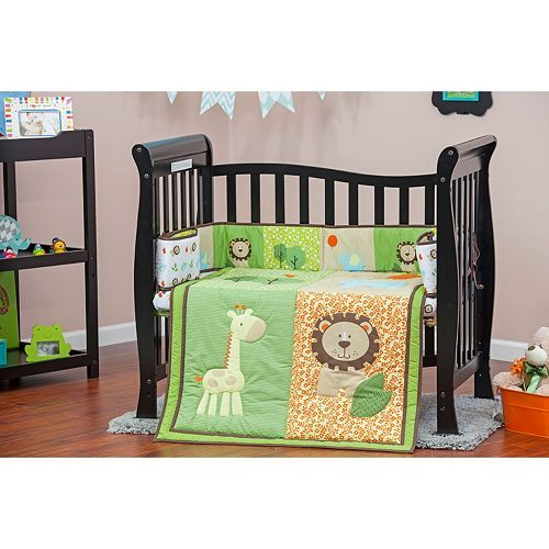 Dream On Me 3-pc. Reversible Safari Animals Mini Crib Set ...