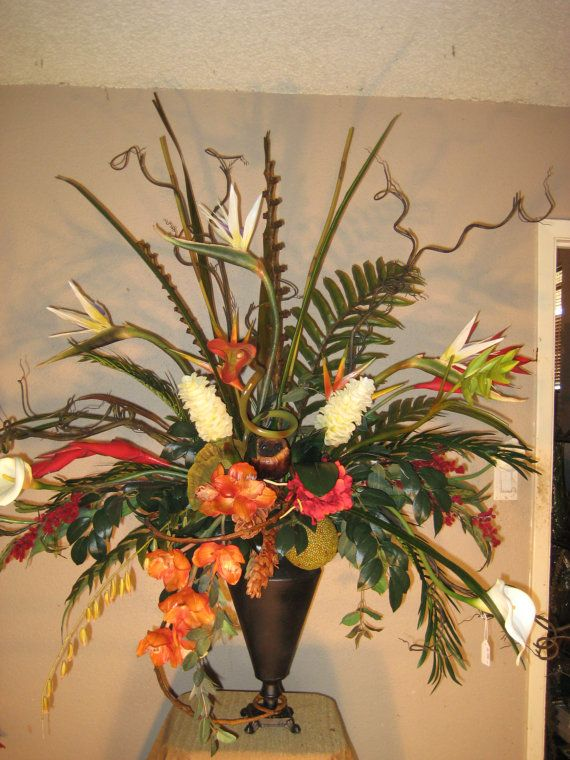 Dramatic Tropic birds of Paradise greenery Silk Custom Floral Arrangement