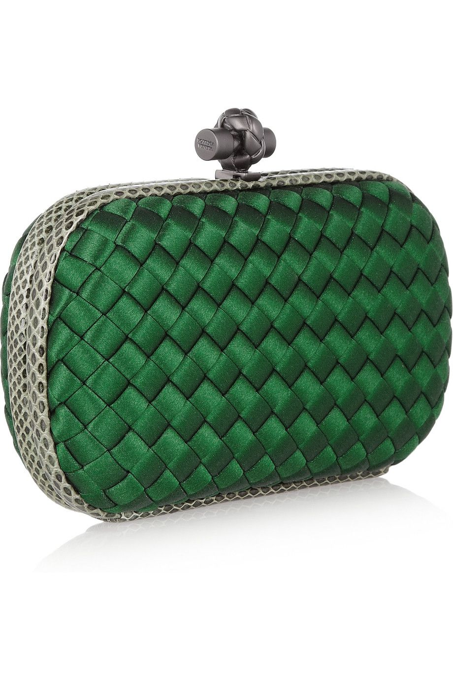 Bottega Veneta - The Knot watersnake-trimmed Intrecciato satin clutch in  emerald green.  1 620aba0efb0c1