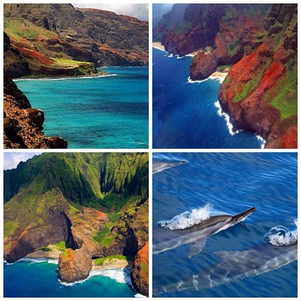 Na Pali Coast, Kauai, Hawaii, USA. #napali #hawaii #kauai #ocean #beach #dolphins #picstitch #mountains #waves #green #orange #blue #beautiful #beautiful #beautifulpic #tagforlikes