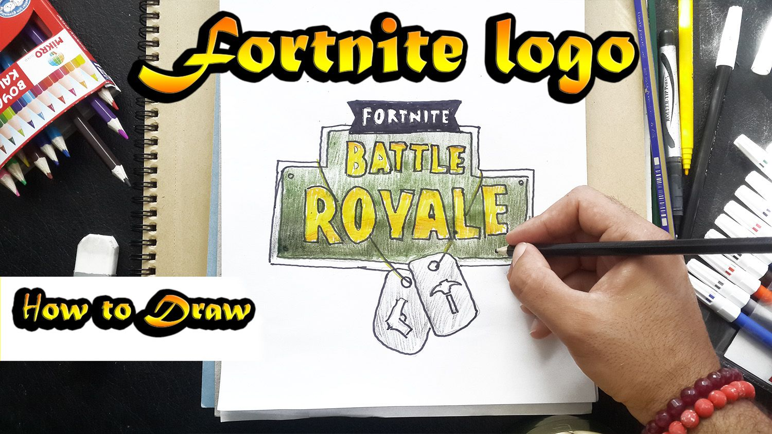 How To Draw Fortnite Logo Battle Royal Art Tutorial Step By
