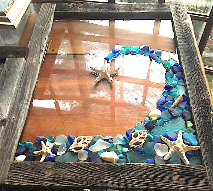 Beach Glass Wave In Blue And Teal With Shells By