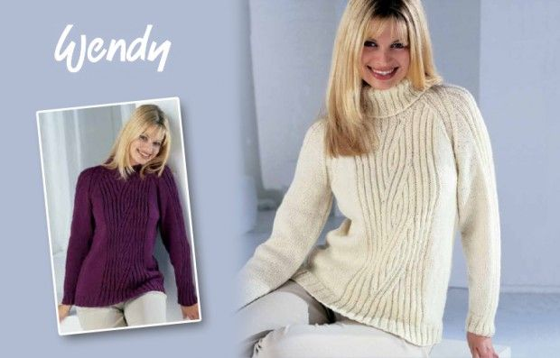 Free pattern: Wendy Raglan Sweater with Crew or Polo Neck