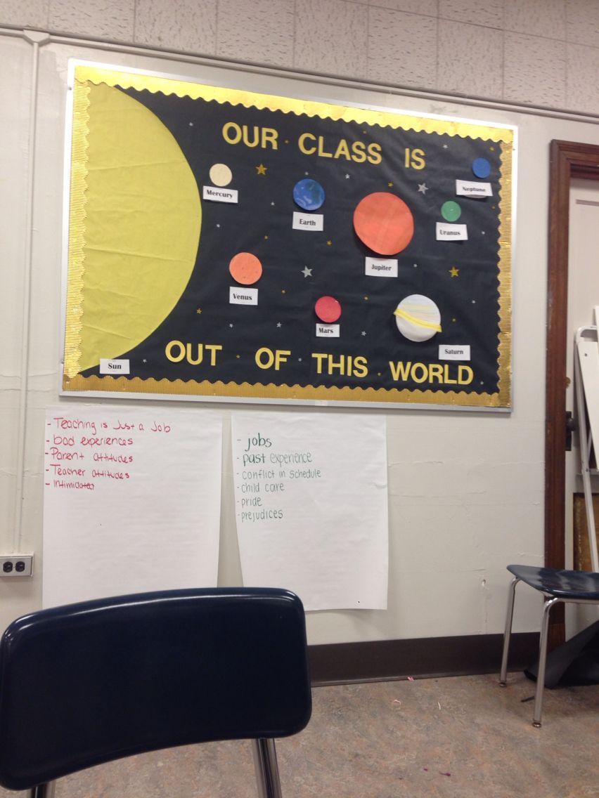 Solar system bulletin board | Science classroom decorations